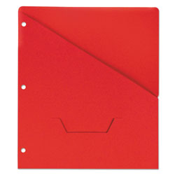 Universal Slash Cut Pockets, 3 Hole Punched, Letter Size, Red, 10/Pack
