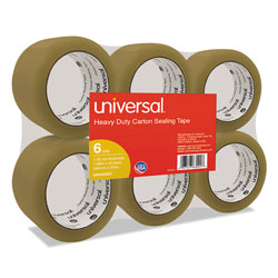 "Universal Box Sealing Tape, 2"" x 55 Yards, 3"" Core, Tan, Six per Box"