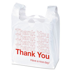 "Garvey® ""Thank You"" Bags, Printed, Plastic, .5mil, 11 x 22, White, 250/Box"