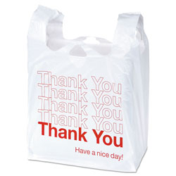 "Universal Plastic ""Thank You"" Shopping Bags, 11 x 6 x 22, 0.55 mil, White/Red, 1000/Box"