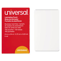 Universal Clear Business Card Size Laminating Pouches, 2 3/16 x 3 11/16, 5 Mil, 100/Bx