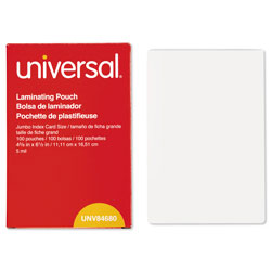 Universal Clear Jumbo Index Card Size Laminating Pouches, 4 3/8 x 6 1/2, 5 Mil, 100/Bx