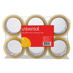 "Universal Heavy-Duty Box Sealing Tape, 2"" x 55 Yards, 3"" Core, Clear, Six per Box"