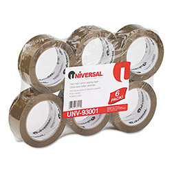"Universal Heavy-Duty Box Sealing Tape, 2"" x 55 Yards, 3"" Core, Tan, Six per Box"