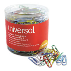 Universal No. 1 Size Vinyl Coated Wire Paper Clips, Assorted Colors, 500 Clips per Pack