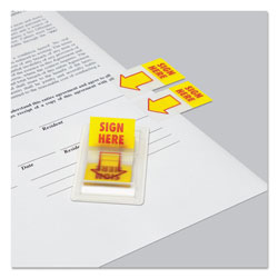 "Universal Arrow Page Flags, ""Sign Here"", Yellow/Red, Two Dispensers of 50 Flags Each/Pack"