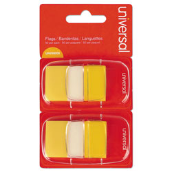 Universal Page Flags, Yellow, 50 Flags per Dispenser, Two Dispensers per Pack