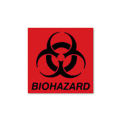 United Receptacle Biohazard Decal, 6w x 5 3/4h