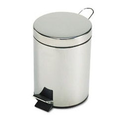 United Receptacle Round Metal Step-On Trash Can, 1 1/2 Gallon, Stainless Steel