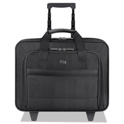 Solo B100-2 Wheeled Notebook Computer Case, Ballistic Nylon, 16 1/2 x 7 1/2 x 15, Black