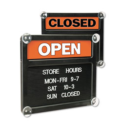 "U.S. Stamp & Sign Open/Closed Letter Board, 15""x13"", Black/Red/White"