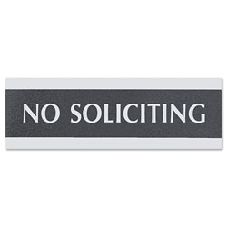 "U.S. Stamp & Sign No Soliciting Sign, 3""x9"", Silver on Black"
