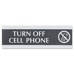 "U.S. Stamp & Sign Turn Off Cell Phone Sign, 3""x9"", Silver on Black"