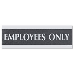 "U.S. Stamp & Sign Employees Only Sign, 3""x9"", Silver on Black"