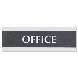 "U.S. Stamp & Sign Office Sign, 3""x9"", Silver on Black"
