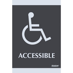 "U.S. Stamp & Sign ADA Signs, ""Accessible"", Adhesive, 6""x9"", Silver/Black"