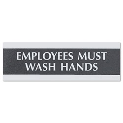 "U.S. Stamp & Sign Employees Mush Wash Hands Sign, 3""x9"", Silver on Black"