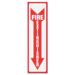 "U.S. Stamp & Sign Glow in the Dark ""Fire Extinguisher"" Sign, 12""x8"", White/Red"