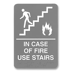 U.S. Stamp & Sign ADA Sign, 6 x 9, In Case of Fire Use Stairs, Gray