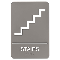 U.S. Stamp & Sign ADA Sign, 6 x 9, Stairs, Gray