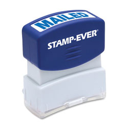 "U.S. Stamp & Sign Stamp, Pre-Inked, ""Mailed"", 9/16""x1-11/16"" Imp, Blue"