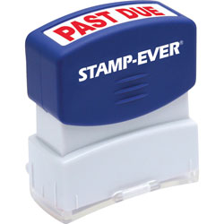 "U.S. Stamp & Sign Stamp, Pre-Inked, ""Past Due"", 9/16""x1-11/16"" Imp, Red"