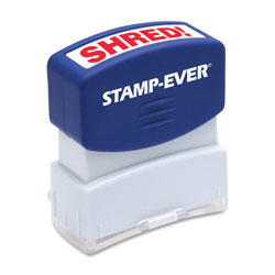 "U.S. Stamp & Sign Stamp, Pre-inked, ""Shred"", 9/16""x1-11/16"" Imp, Red"