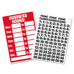 U.S. Stamp & Sign Business Hours Sign with Vinyl Characters, 8w x 12h, Red/White