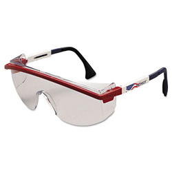 Uvex Safety Astrospec 3000 Safety Glasses, Clear Lens with Red/White/Blue Frame