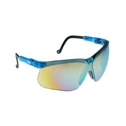 Uvex Safety Genesis Glasses Blue Frame Mirrored Lens