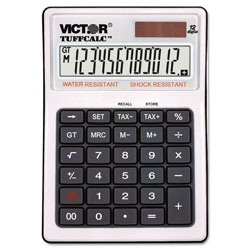Victor 12 Digit Water and Shock Resistant Calculator with Tax Keys