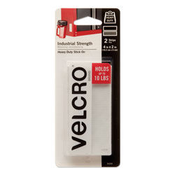 Velcro Industrial Strength Sticky-Back Hook & Loop Fastener Strips, 4 x 2, White