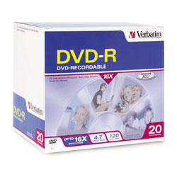 Verbatim DVD R Recordable Discs on Spindle, Thermal Printable, 4.7 GB, White, 50/Pack