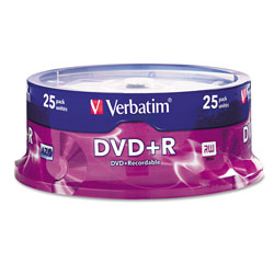 Verbatim DVD+R, 4.7GB, 16X, Branded, 25/Spindle