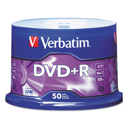 Verbatim DVD+R Recordable Discs on Spindle, 4.7 GB, Silver Matte, 50/Pack