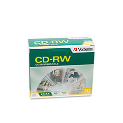 Verbatim CD RW Rewritable Discs, Branded Surface, 700MB/80MIN, 2x 4x, 10/Pack