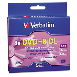 Verbatim DVD+R DL Recordable Discs with Jewel Cases, 8x, 8.5 GB, Silver, 5/Pack