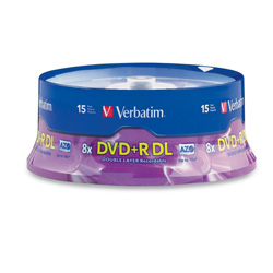 Verbatim DVD+R, Double Layer, 8X, 8.5GB, Branded, 15/PK