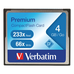 Verbatim Compactflash Memory Card, 4GB, 66x Read/60x Write