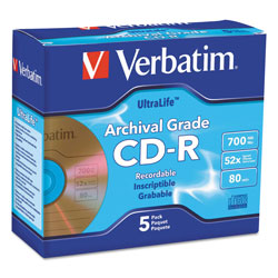 Verbatim CD-R Archival Grade Disc, 700MB, 52x, w/Jewel Case, Gold, 5/Pack