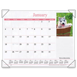 "Visual Organizers Monthly Desk Calendar, 12-Month Jan-Dec, Puppy Images, 22"" x 17"""