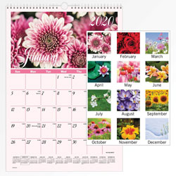 "Visual Organizers Mtly Wall Cal, Flower Scenes, 12"" x 17"" White Hanger"