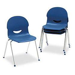 Virco I.Q. Plastic Stack Chair, Navy, Chrome Frame, 4 Per Carton