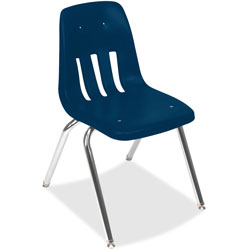 "Virco 9000 Series Classroom Chair, 18"" Seat Height, Navy/Chrome, 4/Carton"