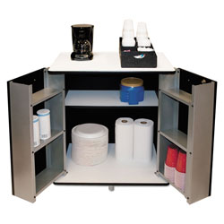 Vertiflex Products 2 Door Refreshment Stand with White Melamine Top & Black Metal Cabinet