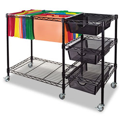 Advantus File Cart with Drawers, Black
