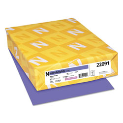 Wausau Papers Colored Card Stock, 8-1/2x11, 65 lb, Venus Violet , 250/Pack