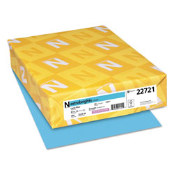Wausau Papers Colored Card Stock, 8-1/2x11, 65 lb, Lunar Blue , 250/Pack