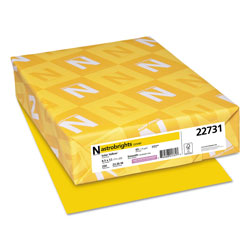 Wausau Papers Colored Card Stock, 8-1/2x11, 65 lb, Solar Yellow , 250/Pack
