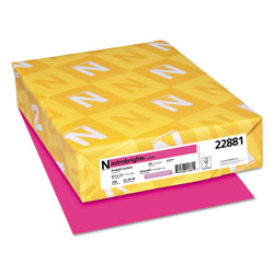 Wausau Papers Colored Card Stock, 8-1/2x11, 65 lb, Fireball Fuchsia , 250/Pack